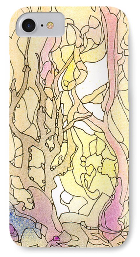Landscape IPhone 7 Case featuring the painting Trees In The Morning by Christina Rahm Galanis