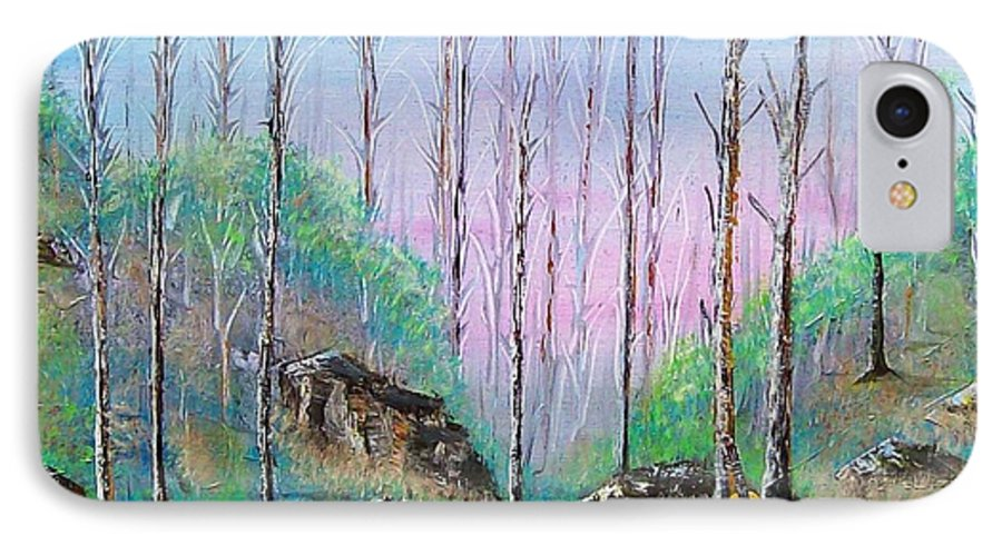Landscape IPhone 7 Case featuring the painting Trees With Cuatro by Tony Rodriguez