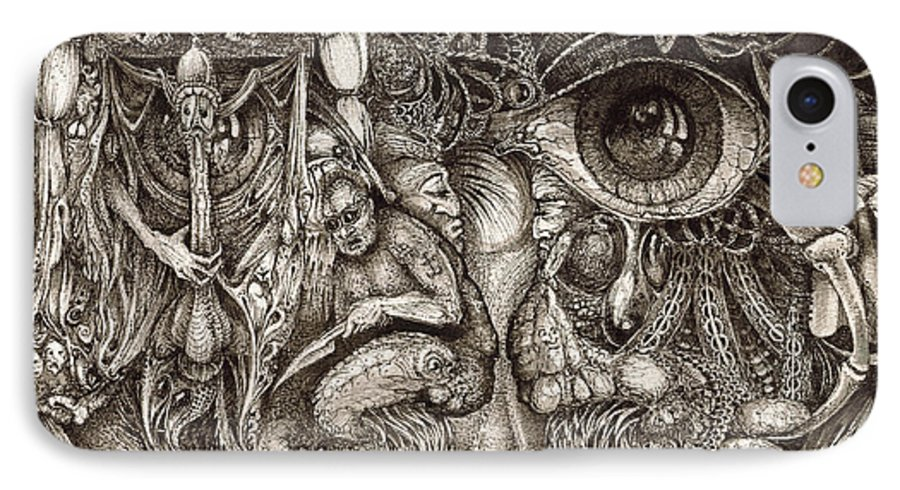 Surreal IPhone 7 Case featuring the drawing Tripping Through Bogomils Mind by Otto Rapp