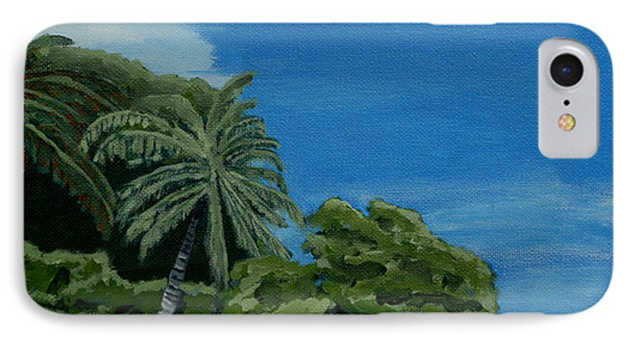 Beach IPhone 7 Case featuring the painting Tropical Beach by Anthony Dunphy
