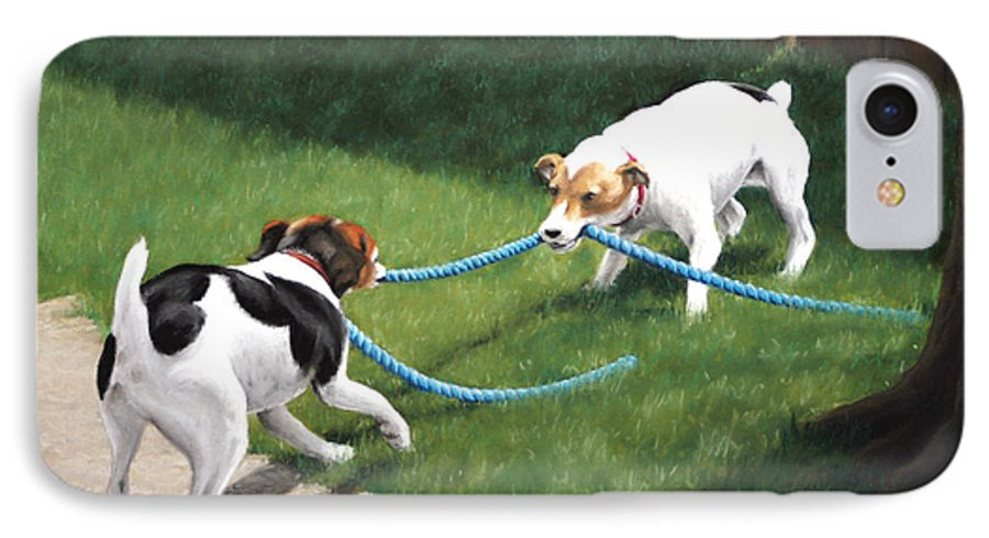 Jack Russel Terriers Playing IPhone 7 Case featuring the pastel Tug-o-war by Karen Elkan
