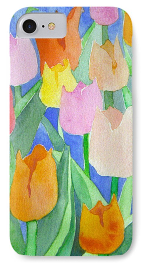 Tulips IPhone 7 Case featuring the painting Tulips Multicolor by Christina Rahm Galanis