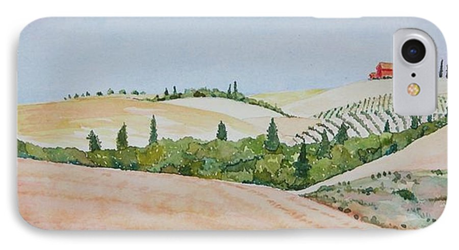 Landscape IPhone 7 Case featuring the painting Tuscan Hillside One by Mary Ellen Mueller Legault