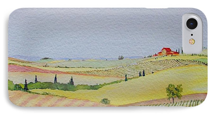 Watercolor IPhone 7 Case featuring the painting Tuscan Hillside Three by Mary Ellen Mueller Legault