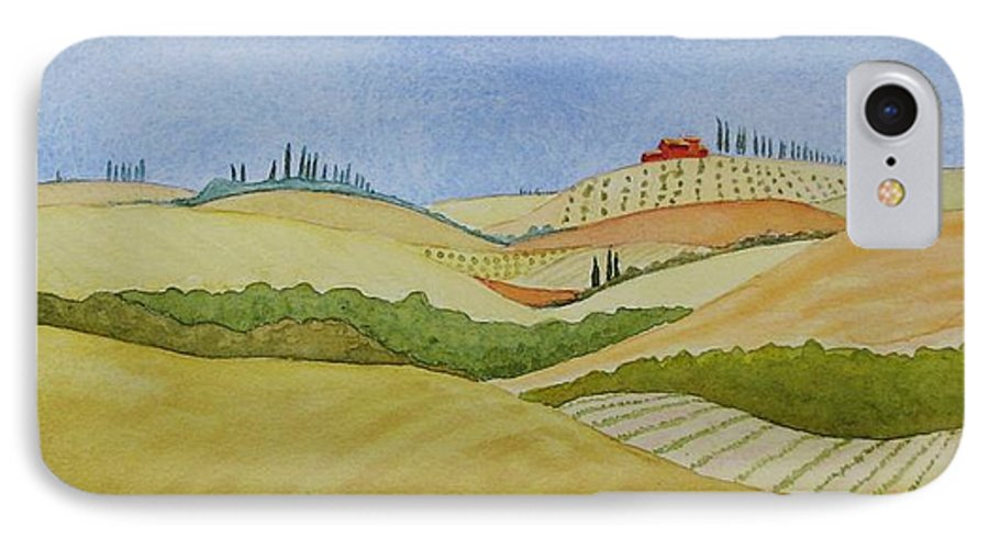 Italy IPhone 7 Case featuring the painting Tuscan Hillside Two by Mary Ellen Mueller Legault