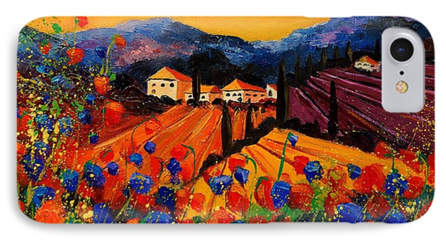 Poppies IPhone 7 Case featuring the painting Tuscany Poppies by Pol Ledent