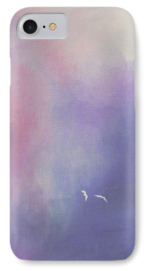 Sky IPhone 7 Case featuring the painting Two Birds Flying In Ravine. by Christina Rahm Galanis