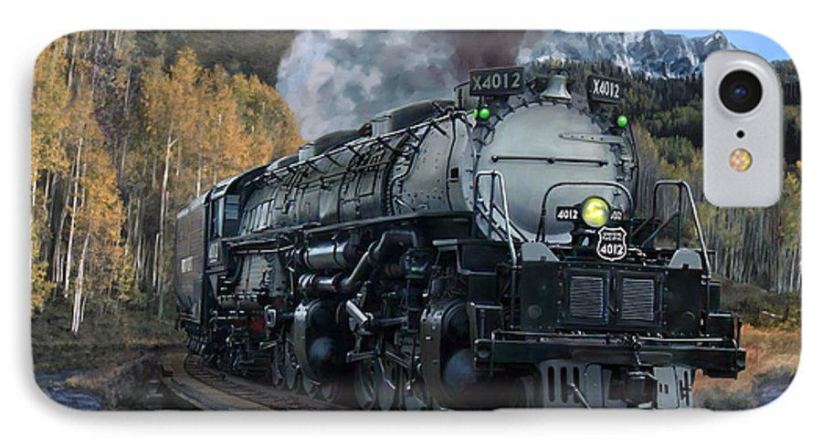 Railroad IPhone 7 Case featuring the painting Union Pacific 4-8-8-4 Big Boy by Mark Karvon