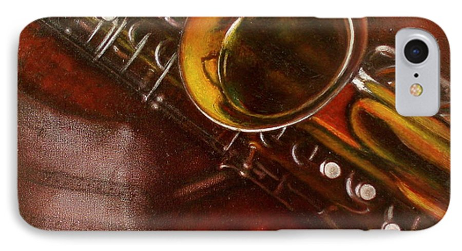 Still Life IPhone 7 Case featuring the painting Unprotected Sax by Sean Connolly