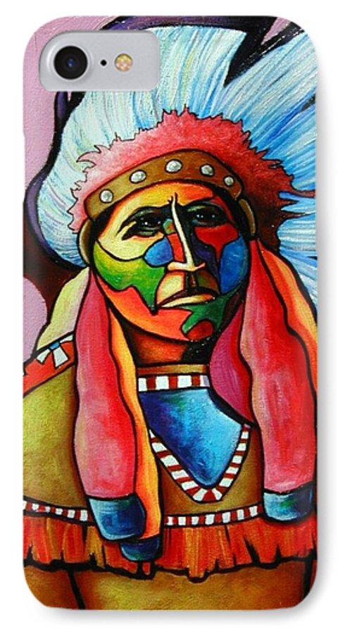 American Indian IPhone 7 Case featuring the painting Until I'm Breathless by Joe Triano