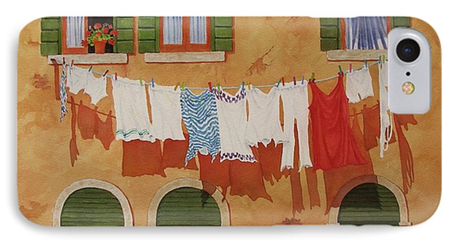 Venice IPhone 7 Case featuring the painting Venetian Washday by Mary Ellen Mueller Legault