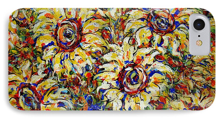 Flowers IPhone 7 Case featuring the painting Vibrant Sunflower Essence by Natalie Holland