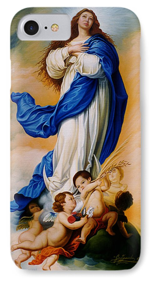 Immaculate Conception IPhone 7 Case featuring the painting Virgin Of The Immaculate Conception After Murillo by Gary Hernandez