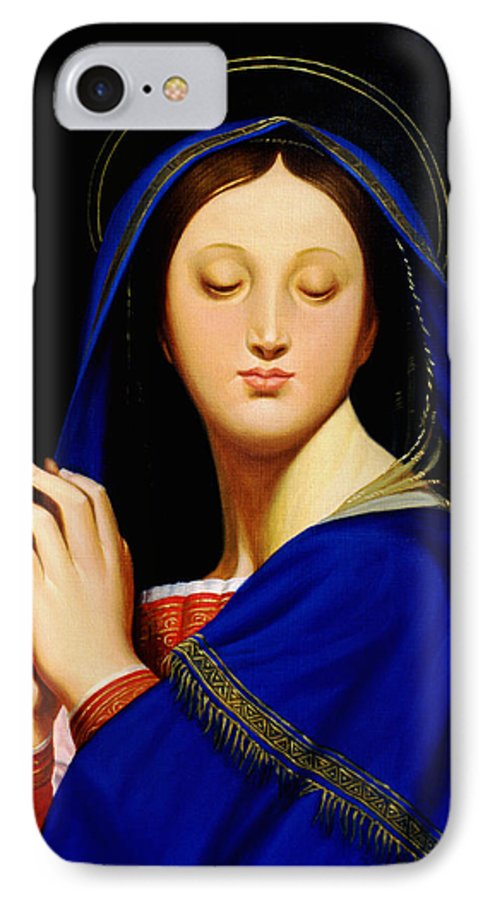 Religious IPhone 7 Case featuring the painting Virgin With The Host After Ingres by Gary Hernandez
