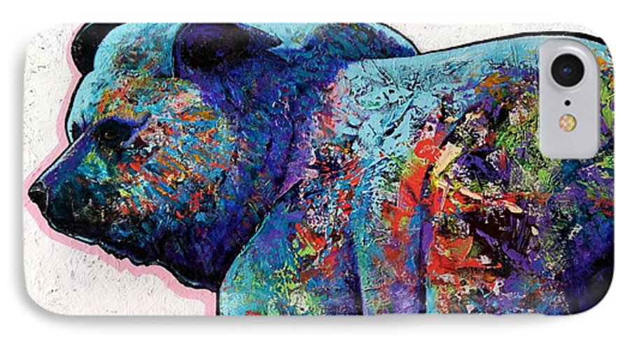 Wildlife IPhone 7 Case featuring the painting Watchful Eyes - Grizzly Bear by Joe Triano