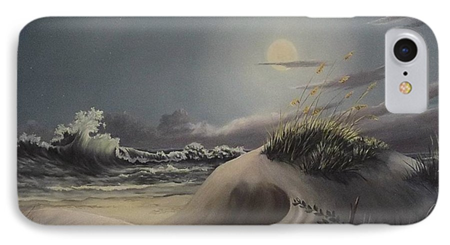 Landscape IPhone 7 Case featuring the painting Waves And Moonlight by Wanda Dansereau