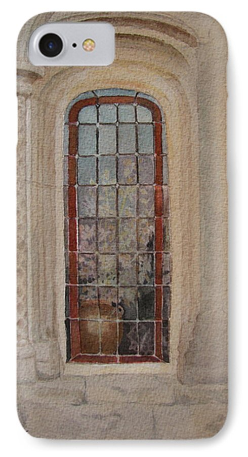 Window IPhone 7 Case featuring the painting What Is Behind The Window Pane by Mary Ellen Mueller Legault