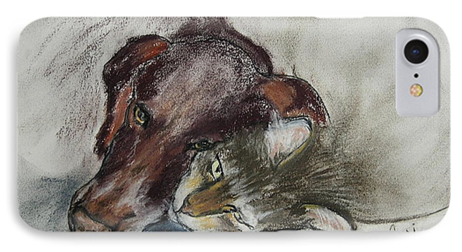 Dog IPhone 7 Case featuring the drawing Whisker To Whisker by Cori Solomon