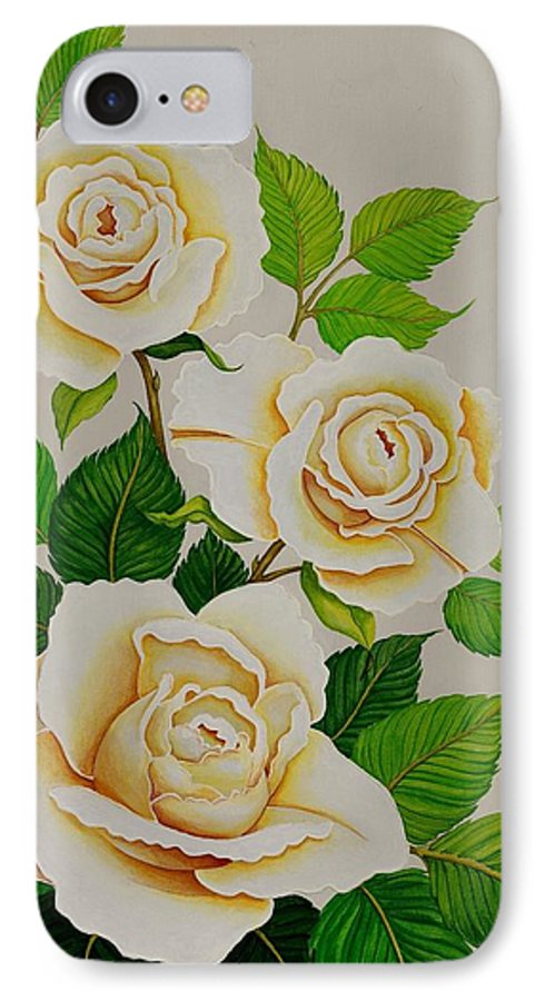 White Roses With Yellow Shading On A White Background. IPhone 7 Case featuring the painting White Roses - Vertical by Carol Sabo
