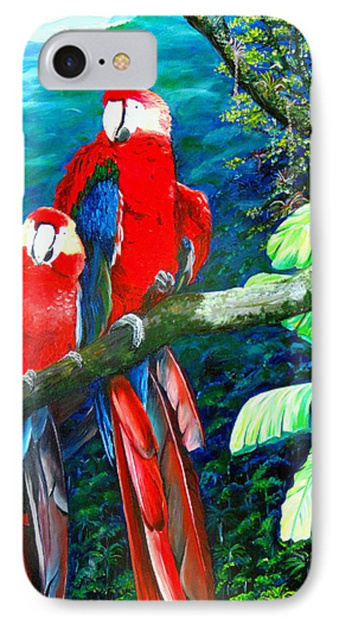 Caribbean Painting Green Wing Macaws Red Mountains Birds Trinidad And Tobago Birds Parrots Macaw Paintings Greeting Card  IPhone 7 Case featuring the painting Who Me  by Karin Dawn Kelshall- Best