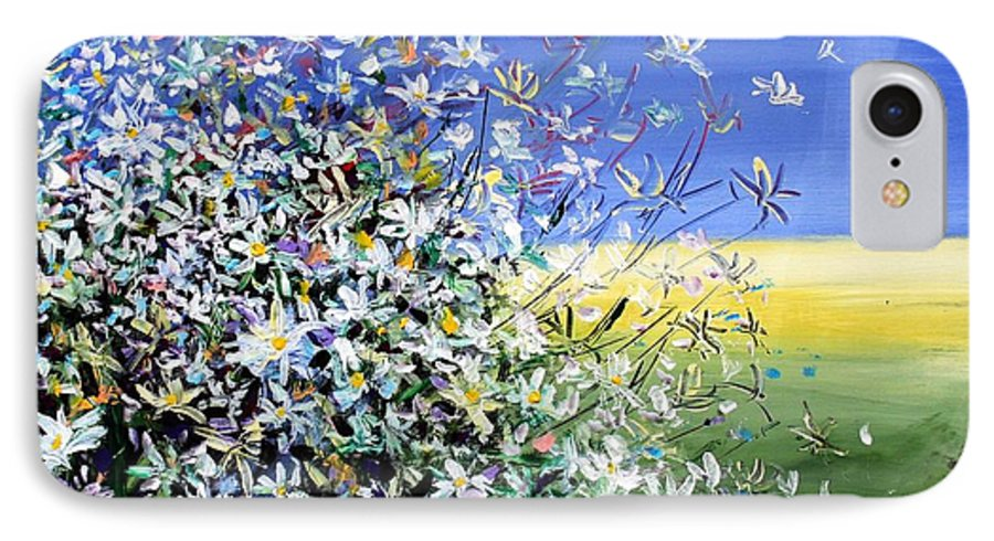 Daisies IPhone 7 Case featuring the painting Wild Daisies by Mario Zampedroni