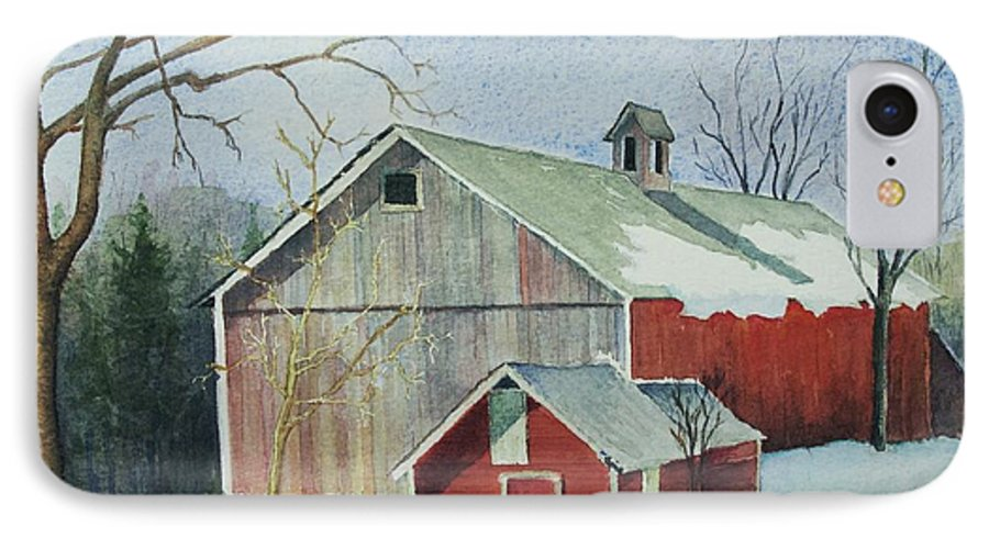 New England IPhone 7 Case featuring the painting Williston Barn by Mary Ellen Mueller Legault