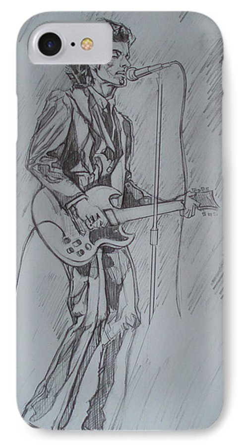 Pencil IPhone 7 Case featuring the drawing Mink Deville - Steady Drivin' Man by Sean Connolly