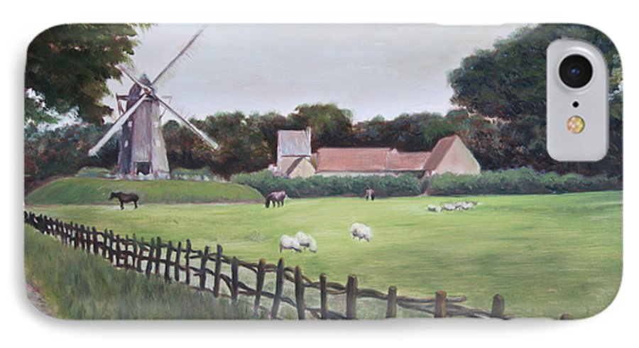 Farm IPhone 7 Case featuring the painting Windmill On Farm by Jennifer Lycke