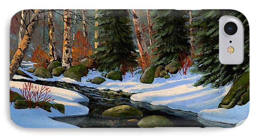 Landscape IPhone 7 Case featuring the painting Winter Brook by Frank Wilson
