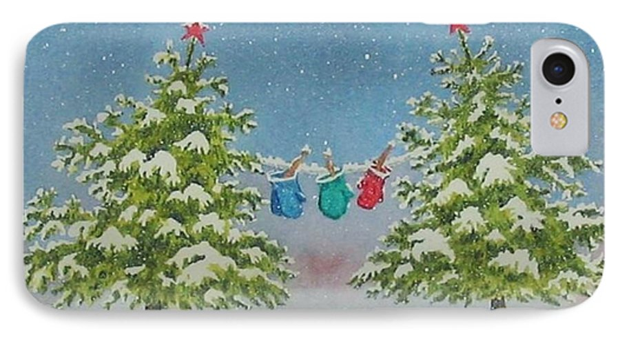 Fun IPhone 7 Case featuring the painting Winter Is Fun by Mary Ellen Mueller Legault