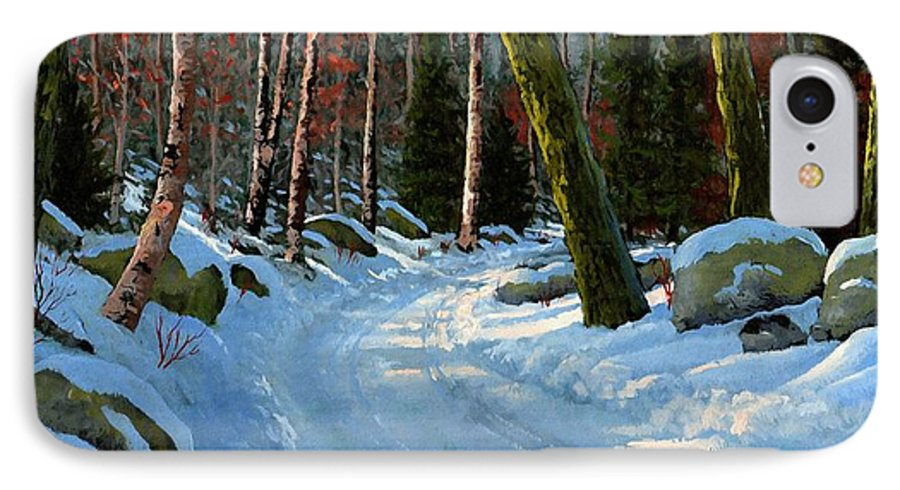 Landscape IPhone 7 Case featuring the painting Winter Road by Frank Wilson