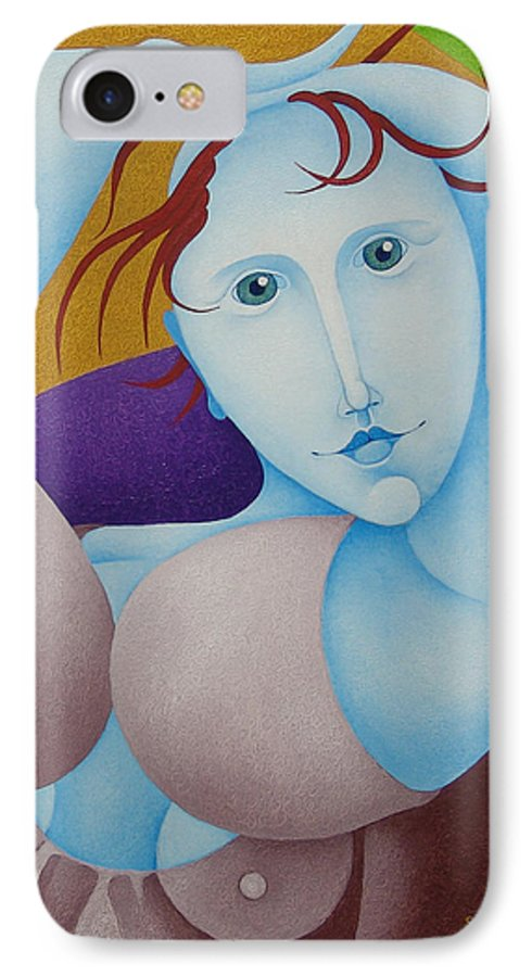 Sacha IPhone 7 Case featuring the painting Woman With Raised Arms 2006 by S A C H A - Circulism Technique