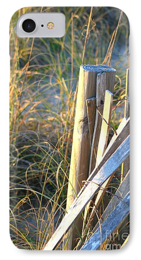 Post IPhone 7 Case featuring the photograph Wooden Post And Fence At The Beach by Nadine Rippelmeyer