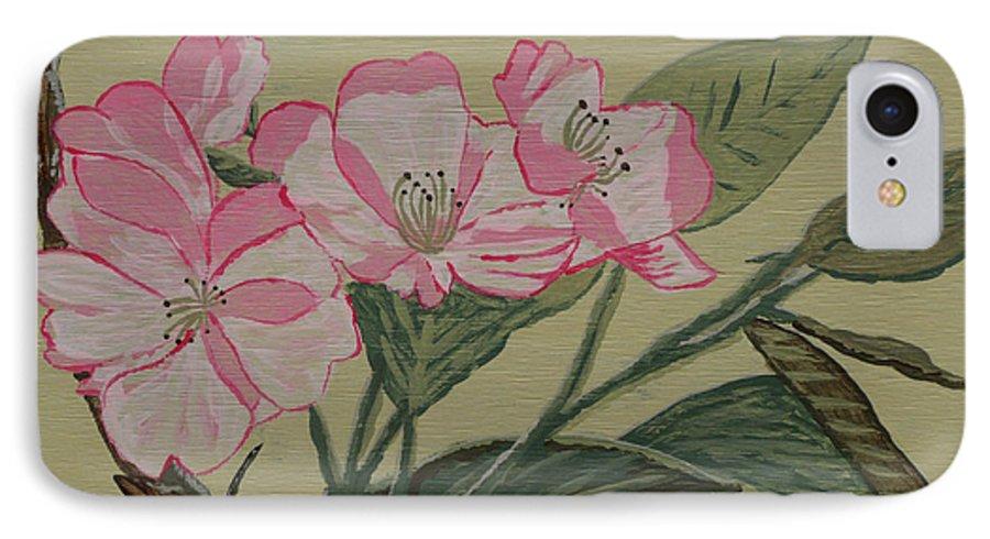 Yamazakura IPhone 7 Case featuring the painting Yamazakura Or Cherry Blossom by Anthony Dunphy