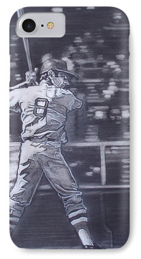 Charcoal IPhone 7 Case featuring the drawing Yaz - Carl Yastrzemski by Sean Connolly