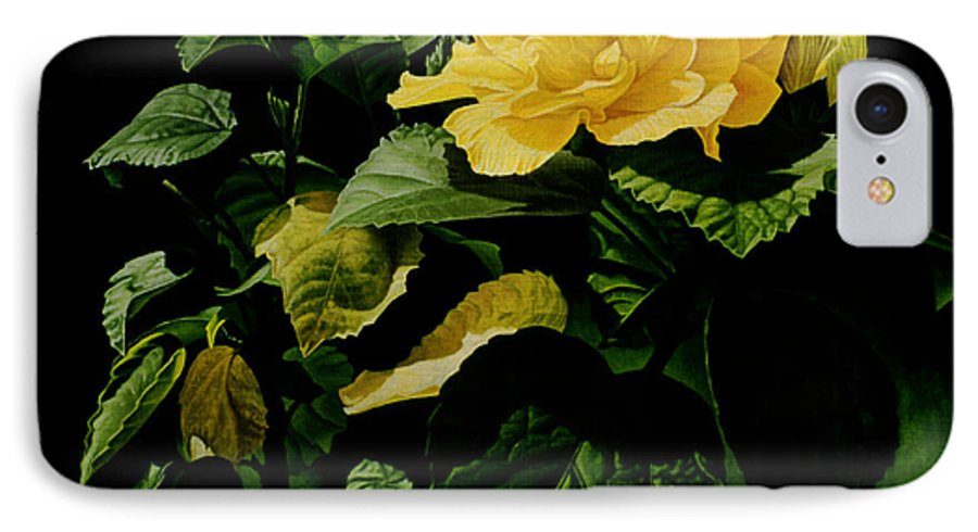 Floral IPhone 7 Case featuring the painting Yellow Hibiscus by Gary Hernandez