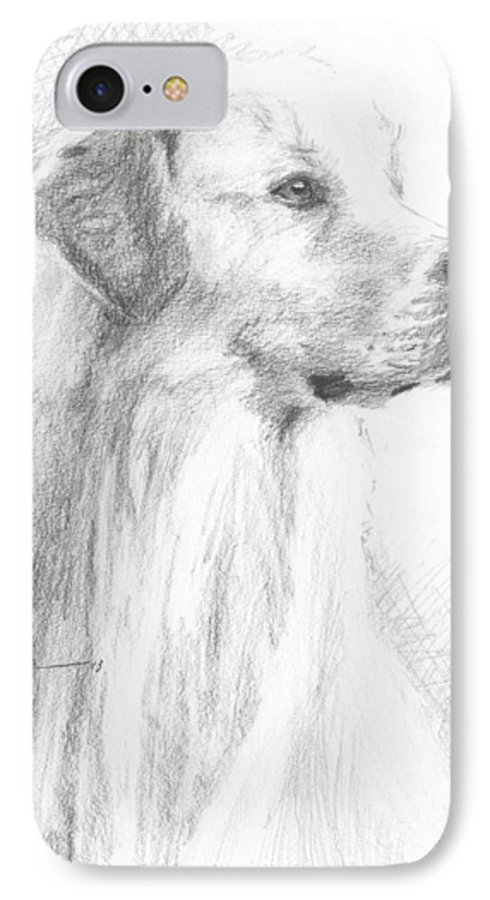 <a Href=http://miketheuer.com Target =_blank>www.miketheuer.com</a> Yellow Labrador Show Dog Pencil Portrait IPhone 7 Case featuring the drawing Yellow Labrador Show Dog Pencil Portrait by Mike Theuer
