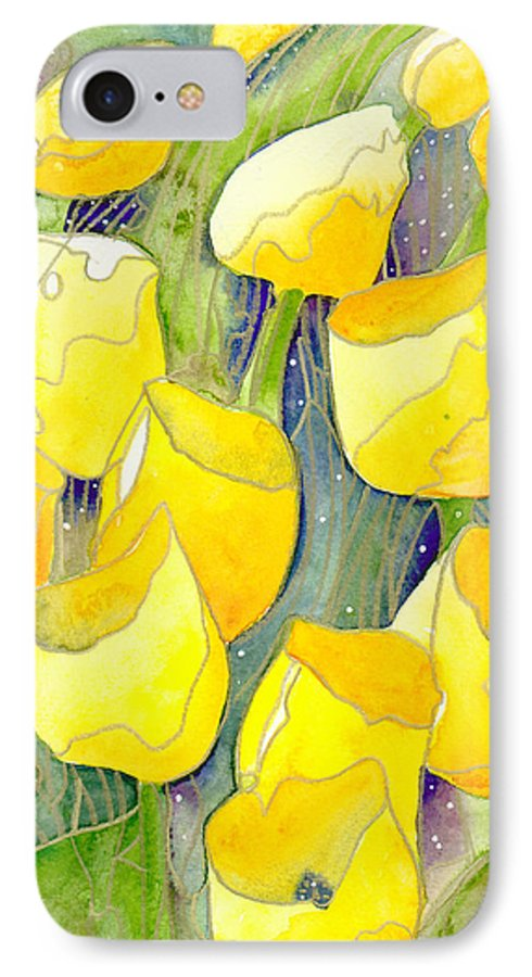 Yellow Tulips IPhone 7 Case featuring the painting Yellow Tulips 2 by Christina Rahm Galanis