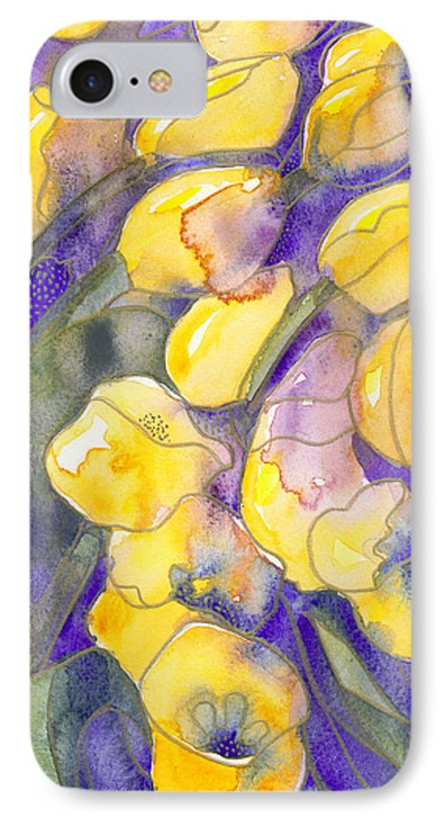 Yellow Tulips IPhone 7 Case featuring the painting Yellow Tulips 3 by Christina Rahm Galanis