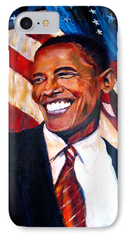 Barack IPhone 7 Case featuring the painting Yes We Can by Art Nomad Sandra Hansen