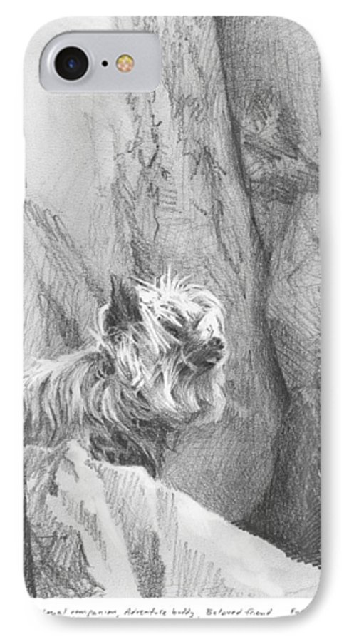 <a Href=http://miketheuer.com Target =_blank>www.miketheuer.com</a> Yorkie Dog On A Cliff Pencil Portrait IPhone 7 Case featuring the drawing Yorkie Dog On A Cliff Pencil Portrait by Mike Theuer