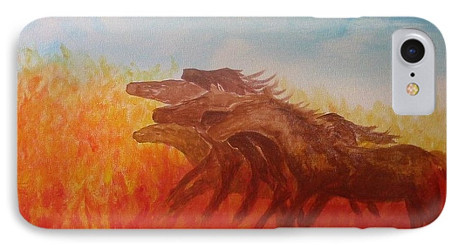 Horses IPhone 7 Case featuring the painting You Shall Return No More To Egypt Deut 17 16 by Laurie Kidd