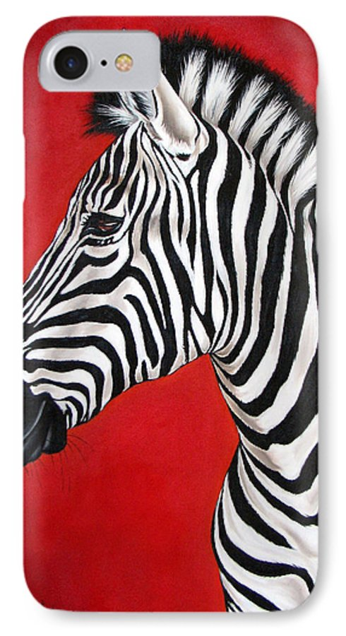 Zebra IPhone 7 Case featuring the painting Zebra by Ilse Kleyn
