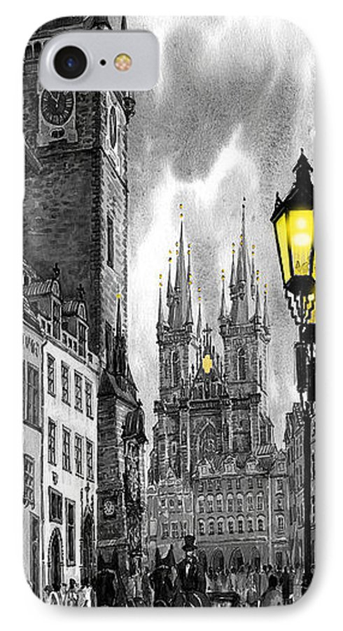 Geelee.watercolour Paper IPhone 7 Case featuring the painting Bw Prague Old Town Squere by Yuriy Shevchuk