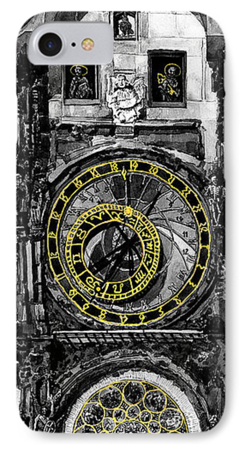 Geelee.watercolour Paper IPhone 7 Case featuring the painting Bw Prague The Horologue At Oldtownhall by Yuriy Shevchuk