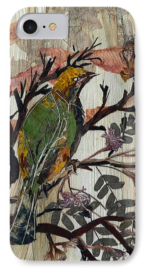 Green Bird IPhone 7 Case featuring the mixed media Green-yellow Bird by Basant Soni