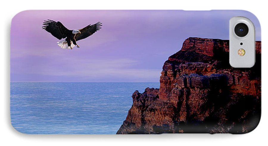 Eagle IPhone 7 Case featuring the digital art I'm Free To Fly by Evelyn Patrick