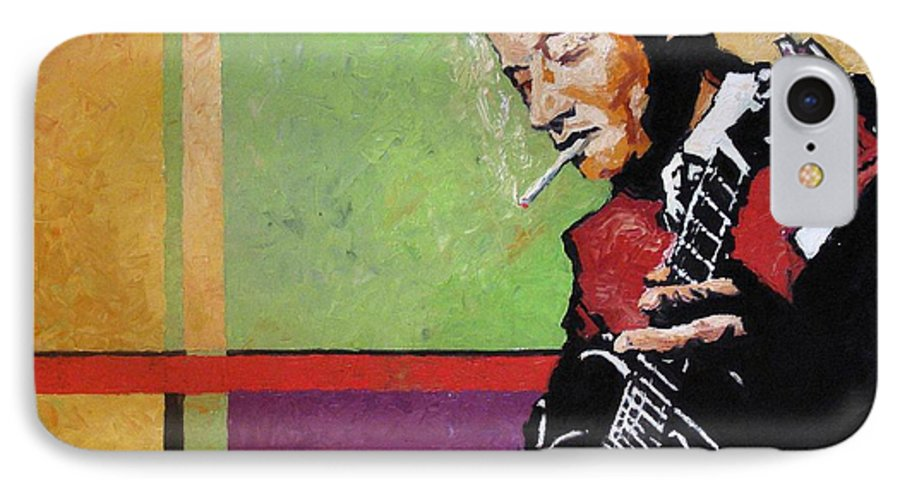 Jazz IPhone 7 Case featuring the painting Jazz Guitarist by Yuriy Shevchuk