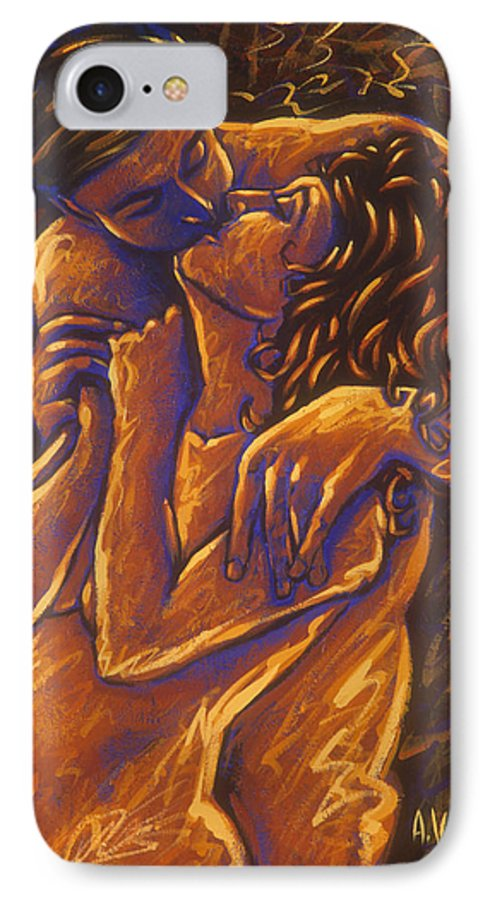 Acrylic IPhone 7 Case featuring the painting Los Amantes The Lovers by Arturo Vilmenay