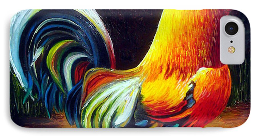 Cuban Art IPhone 7 Case featuring the painting Rooster by Jose Manuel Abraham